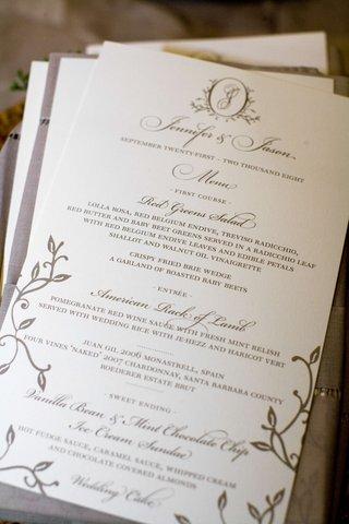 wedding-stationery-menu-card-with-brown-ink