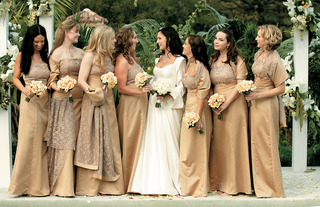 bride-and-bridesmaids-in-gold-dresses