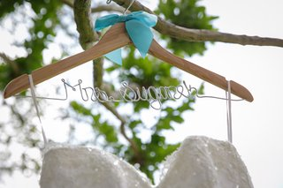personalized-wedding-dress-hanger-with-turquoise-ribbon