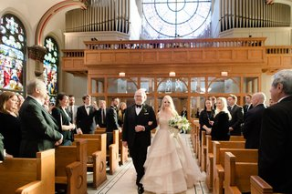 bride-in-martina-liana-layered-blush-ballgown-walked-down-aisle-with-father-in-catholic-church