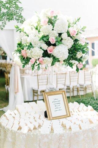 classic-escort-card-display-gold-details-south-carolina-wedding-reception-frame-feminine-colors