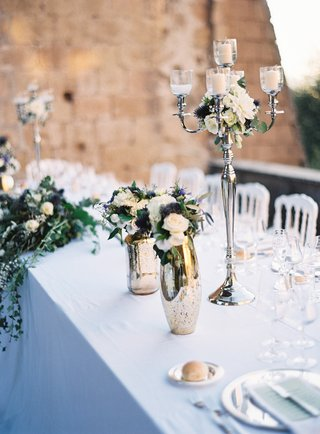 outdoor-destination-wedding-silver-candelabra-mercury-glass-vase-thistle-white-rose-dahlia-flowers