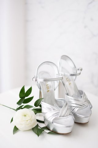 prada-silver-platform-wedding-shoes-with-ankle-strap-ranunculus-flower-greenery