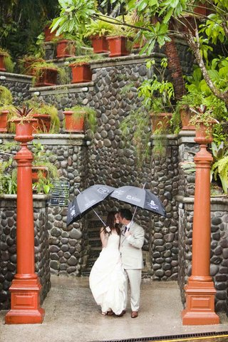 bride-and-groom-kissing-under-umbrellas