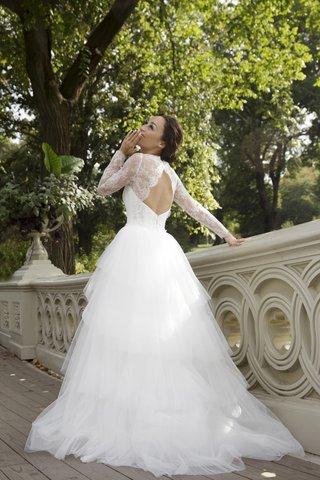 actress-cara-santana-keyhole-back-fenton-amsale-elegant-lace-sleeves-wedding-dress