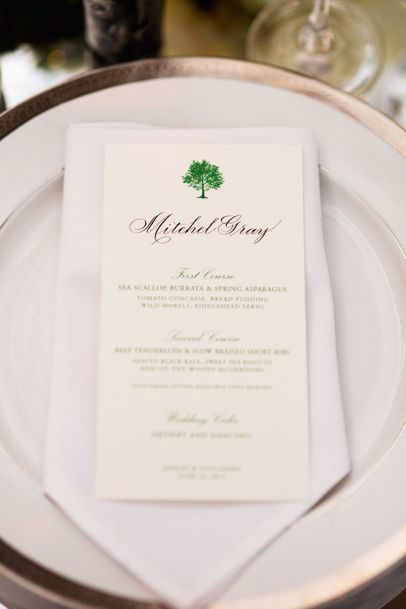 Tree Motif Wedding Menu