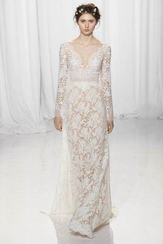 sheer-all-over-lace-long-sleeve-wedding-dress-v-neck-plunging-neckline-reem-acra