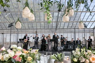 wedding-reception-live-band-woven-lantern-greenery-rustic-chic-decor-cactus-candles-flowers