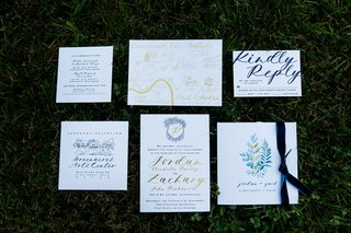 wedding-invitation-suite-navy-and-gold-monogram-calligraphy-foil-ceremony-program-watercolor-detail
