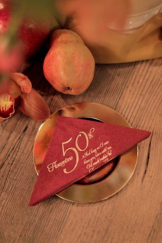 florence-italy-50th-anniversary-cocktail-napkins-burnt-sienna-napkins-with-gold-embossing