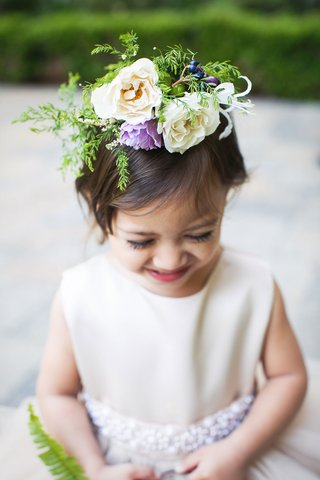 wedding-flower-girl-with-flower-crown-white-and-purple-blooms-greenery-to-match-basket