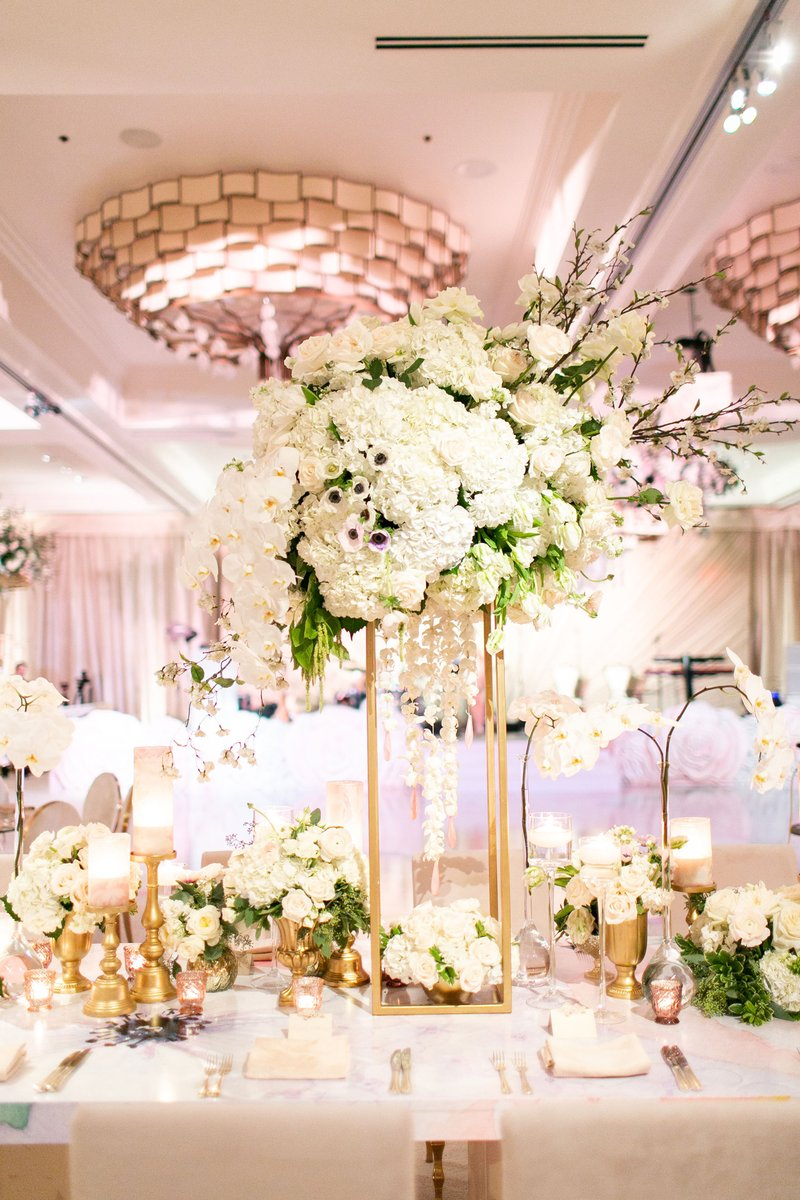 Tall Ivory Centerpiece on Gold Stand