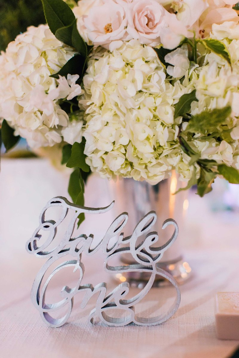 Laser-Cut Silver Table Number