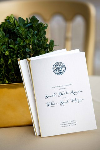 wedding-programs-for-pakistani-couple-in-white-and-gold-with-blue-calligraphy