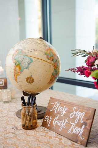 wooden-sign-with-white-calligraphy-next-to-globe