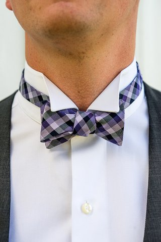 groom-groomsmen-attire-with-grey-vest-and-purple-plaid-bow-tie