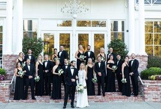 bride-in-sarah-seven-dress-groom-and-groomsmen-in-tux-bridesmaids-in-black-show-me-your-mumu-dress