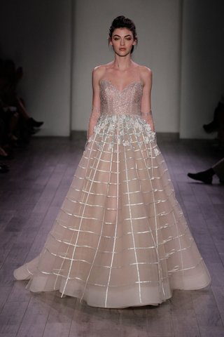 hayley-paige-2016-strapless-wedding-dress-with-sparkly-bodice-and-champagne-a-line-skirt-with-grid
