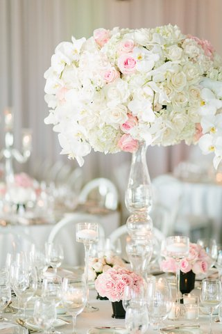 wedding-reception-centerpiece-with-ivory-roses-pink-roses-and-white-orchids