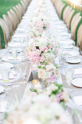 wedding-reception-long-farm-table-with-pink-white-flowers-and-table-runner
