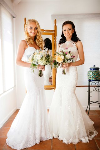 mermaid-wedding-gowns-two-brides-california-wedding-double-malibu-wedding