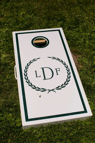 cornhole-board-couples-monogram-green-white-welcome-reception-before-wedding
