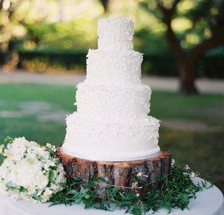white-wedding-cake-on-top-of-wood-tree-trunk-slab