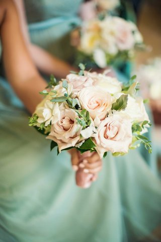 sage-green-jenny-yoo-collection-bridesmaid-dresses-light-pink-rose-bouquet-with-green-leaves