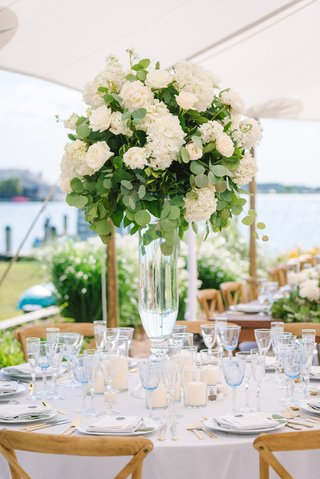 wedding-reception-centerpiece-with-ivory-roses-hydrangeas-and-eucalyptus-leaves