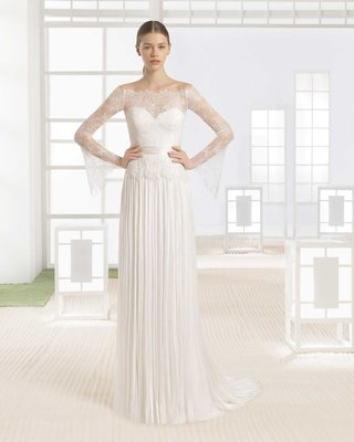 rosa-clara-bridal-wania-wedding-dress-sheer-lace-bell-sleeves-neckline-pleated-muslin-skirt-sheath