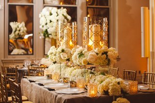 white-hydrangea-runner-and-gold-rimmed-hurricanes