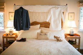 brides-short-mod-dress-3-4-sleeves-tan-jimmy-choo-heels-grooms-blue-blazer-brown-shoes