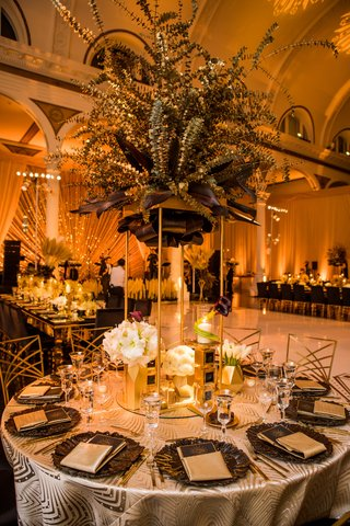vibiana-wedding-reception-gold-spray-painted-eucalyptus-leaves-gold-stand