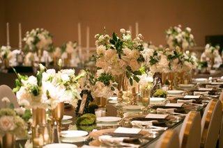 long-reception-tables-mirror-tops-gold-silver-white-green-square-ballroom-wedding-reception-modern