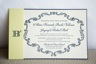 white-navy-wedding-invitation-with-yellow-belly-band-b-squared-logo-monogram