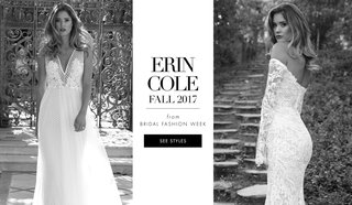 black-and-white-photo-of-erin-cole-wedding-dresses-first-bridal-collection-fall-2017