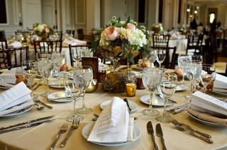 tan-wedding-table-linens-gold-branch-centerpiece-with-pink-garden-rose-white-hydrangea