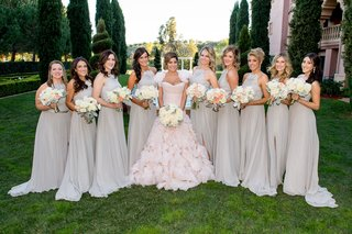 bride-in-pink-ruffle-mark-zunino-wedding-dress-bridesmaids-in-high-neck-ruffle-grey-bridesmaid-dress