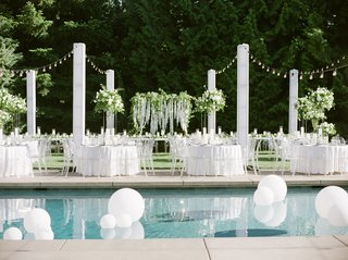brandin-cooks-wedding-outdoor-reception-set-up-next-to-pool-with-large-matte-balloons