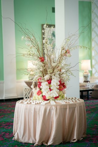 escort-card-table-branches-vibrant-florals-tree-nature-creative-west-virginia-wedding-reception