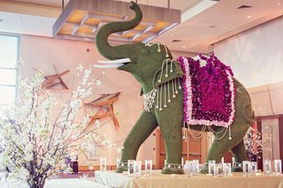 very-detailed-elephant-topiary-on-display-at-indian-hindu-wedding
