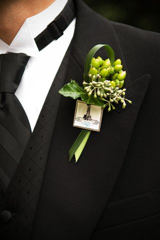 green-ribbon-and-leaf-boutonniere-with-duke-charm