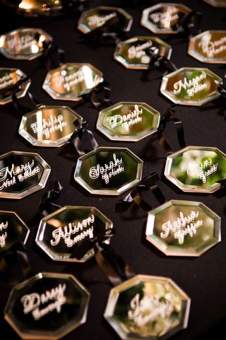 glass-octagon-ornaments-with-guests-names-painted-on