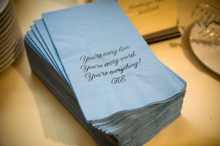 romantic-quote-printed-on-blue-napkins