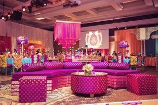 fuchsia-lounge-furniture-and-lamp-at-sangeet-indian-wedding