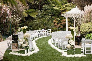 hotel-bel-air-wedding-ceremony-white-flower-petal-aisle-mirror-stands-white-gazebo