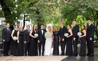 bride-groom-wedding-party-black-outfits-chicago-modern-details-mom-dad-bouquets