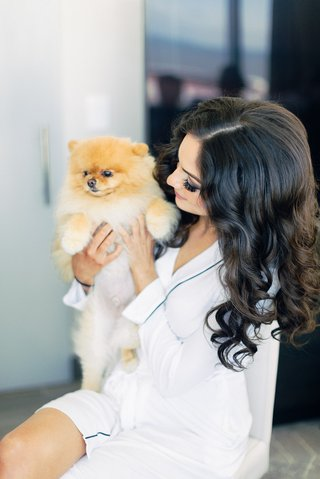 brooke-squires-curled-hair-robe-with-instagram-famous-pomeranian-dog-cupcake-the-pom-getting-ready