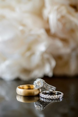 vintage-inspired-wedding-ring-with-halo-and-eternity-wedding-band-gold-band