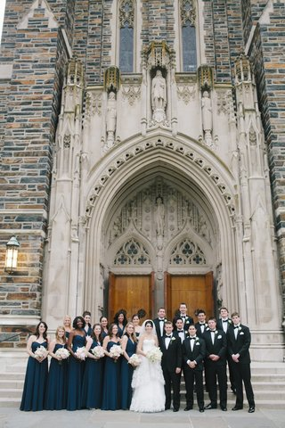 bridesmaids-and-groomsmen-in-front-of-duke-chapel